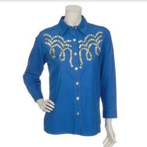 Bob Mackie Wearable Art Shirt. Size Med